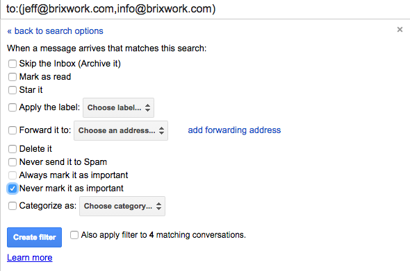 Check on the option to never mark email as important.