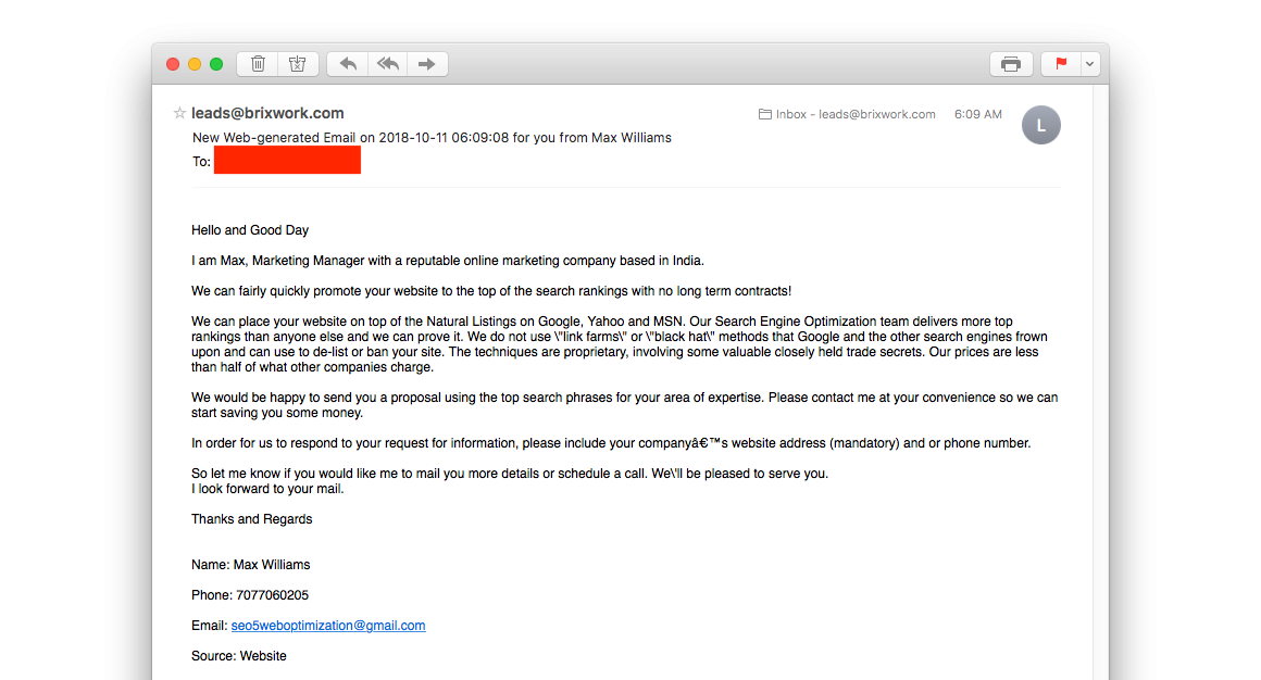 SEO Scam Email example