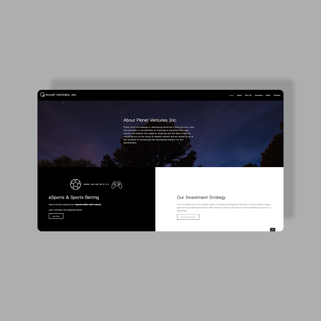 Planet Ventures eGame and Sports Investment Venture website web design mockup